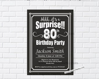 surprise birthday, surprise party, surprise invitaiton, chalkboard party, chalkboard birthday, adult birthday, surprise, digital, card 975