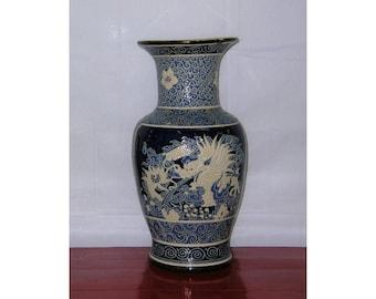 "Large Vintage Vietnamese Blue and White Enameled ""Dragon"" Vase"