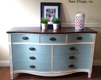 SOLD *Portfolio purpose only* Antique shabby chic Dixie dresser white and blue. Bow front vintage mahogany. San Diego