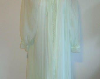 Vintage Miss Elaine Peignoir  Set ~ 1960's Sea Foam Green Nylon Chiffon  Peignoir Set ~ Green Peignoir Set ~ Green Negligee Set