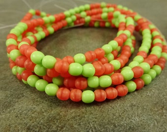 Lime/Coral Mix Opaque Czech Glass Druk 4mm 100pc Strand Round Beads