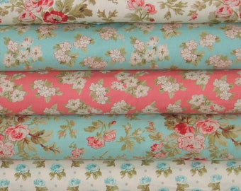 Five Pink, Red, Teal, Green and White Fabrics for Sale, 100% Cotton Quilt Fabric Bundle, Aubrey by Whistler Studios, Fat Quarter