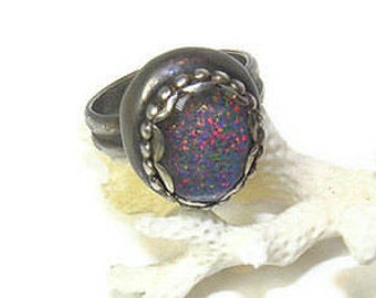 Opal and Sterling Ring in Kalidoscope Colors, Groovy Baby R112