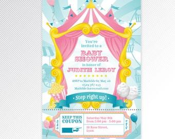 Pink carnival / circus baby shower printable invitation, digital invitation