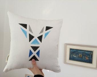 FREE SHIPPING, Personalized Pillow, Kids Pillow, Modern Throw Pillow, Black Blue Gray Decorative Pillow, Geometric Pillow, Letter Pillow