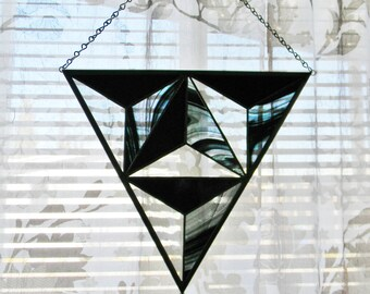 Geometric Stained Glass Window Panel in Iridescent Black and Grey - Ready to Ship