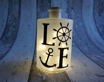 Lichtflasche Flaschenlicht Love von Frollein KarLa