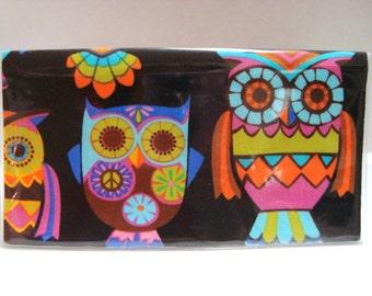 Checkbook Cover , Checkbook Holder Cash Holder -Retro Peace Owls