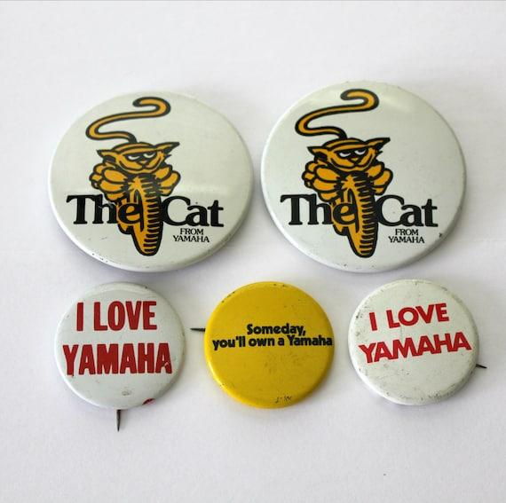 Vintage Yamaha The Cat Motorcycle Pins, 1970s Pinback Buttons, Love Yamaha Bike