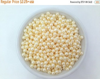 SALE 6mm Beige Pearl Beads Set of 100 or 200,  6mm Beige Pearl Spacer Beads, 6mm Beige Pearls, 6mm Spacer Beads, Chunky Bubble Gum Beads