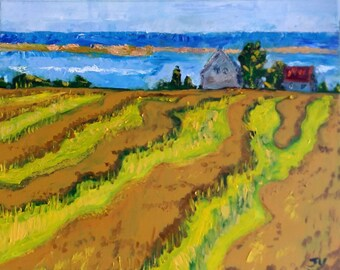 "Original Oil Painting,  Landscape Field, 60025, 16""x20"""