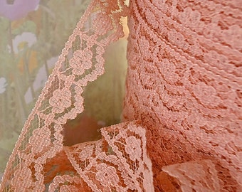 5yds Trim Lace Pink 1/2 inch wide Floral Scalloped Lace Edging Wedding diy Bridal Garters Dainty Lace