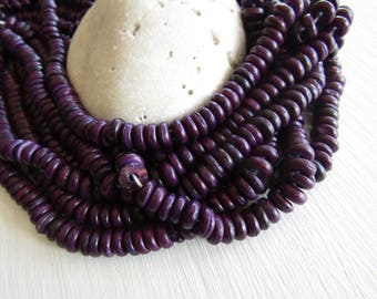 Purple  coconut beads, small rondelles discs spacer , Natural boho exotic 2 to 4mm x 7 to 8mm diameter (12 inch strd)6CB19-3
