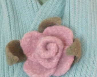 Flower Brooch - Rose Pink Handmade Felted