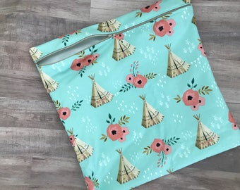 Swim Bag, Baby Bag, Waterproof Bag, Teal and Pink Teepee