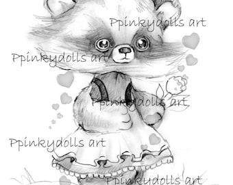 INSTANT DOWNLOAD Digital Digi Stamps..by Chrishanthi's art,Raccoon girl''