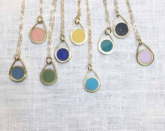 Circle Drop Necklace- Your Choice of Colors