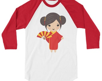 China Doll 3/4 sleeve raglan shirt - Chinadoll - Chinese - Asian