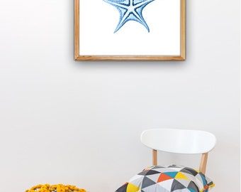 Blue starfish Illustration Wall decor Poster A3 Plus size Minimal style sea life POSTER Wall decor Poster sea life AS075A3P