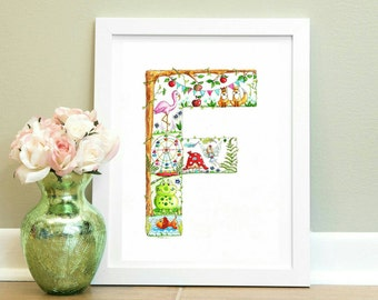 Initial Art Alphabet Watercolour Print F is for.... Alphabet Letter Art F Illustration Nursery wall art Children's Name