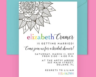 Bridal Shower Invitation, Modern Wedding Shower Invitation, Printable Bridal Shower Invitation