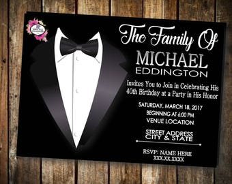 Masculine Tuxedo Party Invitations, Party Invites, Invites for Guys, Birthday Party, Retirement Party, Birthday Boy, Tuxedo, Men Invitations