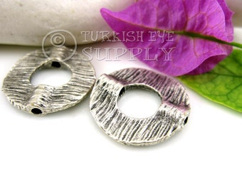 4 pc Textured Circle Spacer Beads, Antique Silver Plated Bead Spacer, Turkish Jewelry Supplies