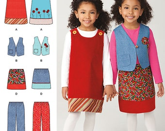 Simplicity Sewing Pattern 1568 Child's Jumper, Vest, Pants and Skirt