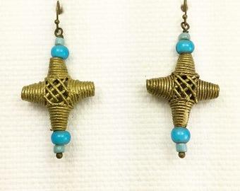 African Earrings, Trade Bead Earrings, Lost wax brass Earrings, African jewelry, beaded earrings, brass earrings, Massai Earrings, gift idea
