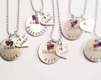 Hand stamped, personalized dance necklaces. Customized dance, cheer, any sport necklace. School colors, sports jewelry, sports team necklace
