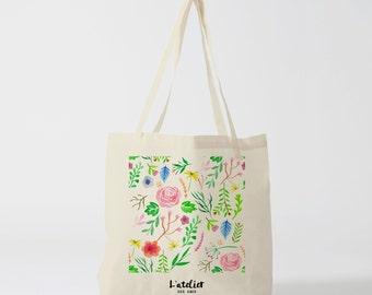 tote bag flowers, canvas bag, cotton bag, shopping bag, custom tote bag, personalized tote bag, tote gift,  tote bag personalized