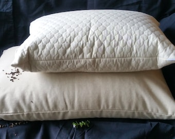 "Buckwheat Hull SMALL Soba Gara Makura Style Pillow With Unbleached Quilted Calico Insert 15"" X 21"""