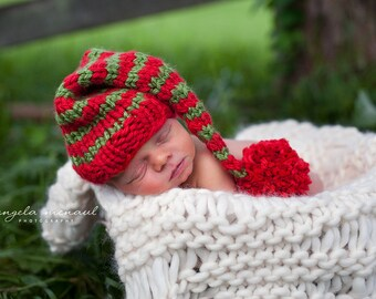 Red and Green Gnome Elf Christmas Baby Hat Size Newborn  Knitted Baby Hat  Photo Prop