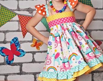 Unicorn Dress - Rainbow Dress- Girls Dress- Girls Rainbow Dress- Girls Party Dress- Baby Party Dress- - Toddler Party Dress- Summer Dress