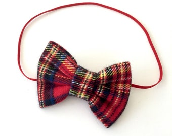 Red and Yellow Plaid Bow, Christmas Bow, Christmas Headband, Red Plaid Bow, Plaid Bow