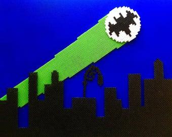3D Retro Batman Bat Signal Perler Bead Pixel Pop Art