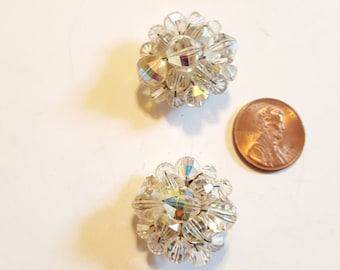 Vintage Crystal Rhinestone Clip On Earrings