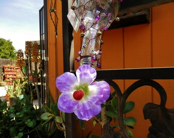 Really Pretty Upcycled Glass Hummingbird Feeder