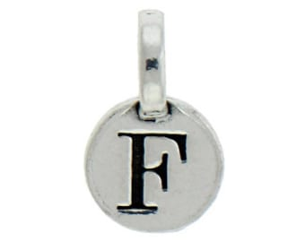 1 Round Silver Initial Charm 9mm Letter F by TIJC SPRF