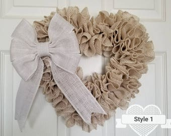 Burlap Wreath, Heart Burlap Wreath, Front Door Wreath, Small Wreath, Spring Wreath, Wedding Decor,