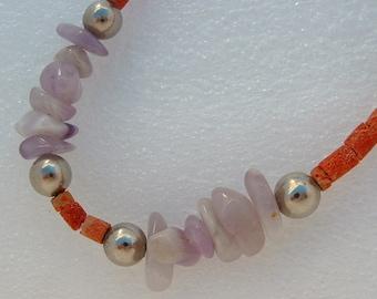 Vintage Heishi Coral - Silver - Amethyst Necklace