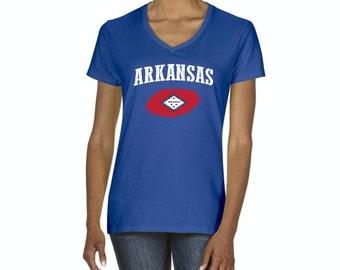 Arkansas State Flag State University of Arkansas Razorbacks Hogs  American Womens Shirts V-neck