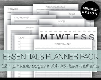 ESSENTIALS PLANNER PACK. Printable Pages/Planner Inserts. 4 Sizes. Instant Download. Letter - Half Letter - A4 - A5