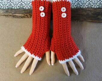 Christmas Fingerless Gloves,Crochet Gloves, Arm Warmers, Red Gloves, Wool Accessories, Burlesque Winter Gloves