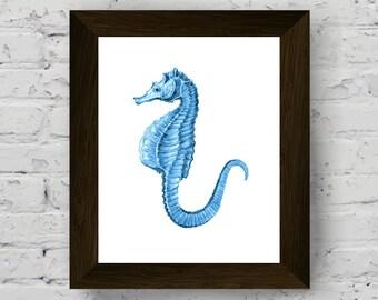 sea horse watercolor, nautical wall art, sea decor, coastal prints, bathroom wall decor, marine art, wall art prints, digital download