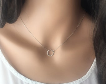 SILVER CIRCLE NECKLACE-dainty silver necklace-everyday necklace-handmade sterling silver hammered necklace
