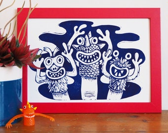 Finger Puppet Monsters Linocut Print, Lino Print Nostalgic Toys, 90s Retro Toys, Kids Room Print, Childrens Room Art, Childrens Decor