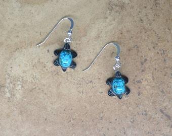 Zuni Fetish style Turquoise Turtle Earrings