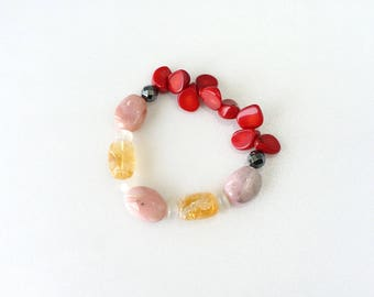 Crystal Stone Statement Combination Stretch Bracelet, Pink Opal, Citrine, Moonstone, Red Coral Semi Precious Stones