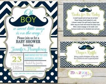 Little Man Baby Shower Invitation, Little Man Books for Baby, Mustache Baby Shower, Oh Boy Diaper Raffle, Mustache Baby Shower, 1345-M